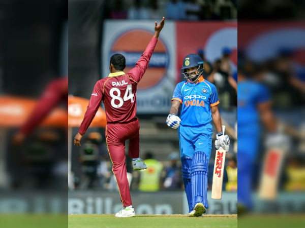 India Vs Wi 4th Odi Keemo Paul Mocks Shikhar Dhawan With Thigh Five Celebration See Video