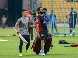 Ipl 2019 Special Guest At Rcb Training Camp Virat Kohli Thanks Sunil Chhetri