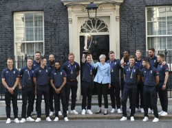 Prime Minister Theresa May Hosts World Champion England Team