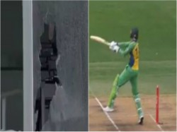 Global T20 Canada Shoaib Malik Breaks Glass Window With Huge Sixes