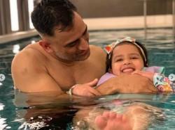 Baby Shark Ziva Enjoy Playing With Dhoni And Hardik In Pool