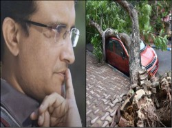 Cyclone Amphan Hit West Bengal Sourav Ganguly Clearing A Fallen Tree At His Home
