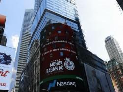 July Mohun Bagan Day New Yorks Times Squares Nasdaq Billboard Goes Green Maroon